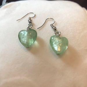Mint Heart Murano Glass Earrings handmade